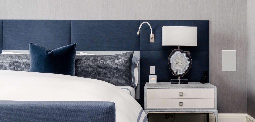 bedroom with grey carpet